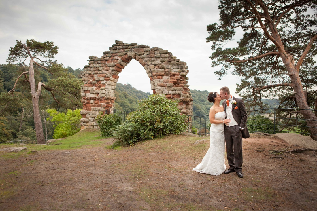 Dewi and Gemma at the follies Hawkstone park Shropshire photographed by orton photography